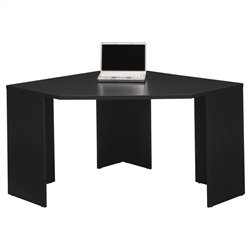 Pemberly Row Stockport Wood Corner Desk in Black