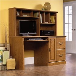 Pemberly Row Wood Computer Desk with Hutch in Carolina Oak