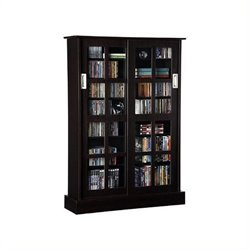 Pemberly Row Windowpane Sliding Glass Door Media Cabinet in Espresso
