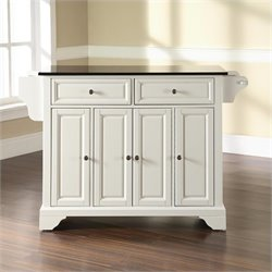 Pemberly Row Solid Black Granite Top Kitchen Island in White Finish