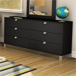 Pemberly Row 6 Drawer Double Dresser in Solid Black Finish