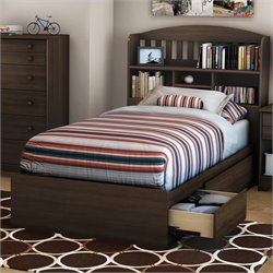 Pemberly Row Shaker Style Twin Mates Bed in Moka Finish