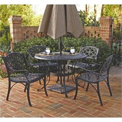 Pemberly Row 5 Piece Metal Patio Dining Set in Black