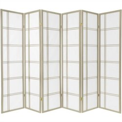 Pemberly Row Six Panel Double Cross Shoji Screen in Grey