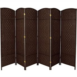 Pemberly Row 6 Panel Diamond Weave Fiber Room Divider in Dark Mocha