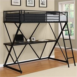 Pemberly Row X Shaped Metal Twin Loft Bed in Black with Desk