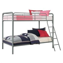 Pemberly Row Metal Twin over Twin Bunk Bed in Silver