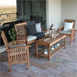 Pemberly Row 4 Piece Wood Patio Set in Brown with Cushions