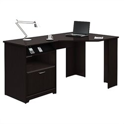 Pemberly Row Corner Computer Desk in Espresso Oak