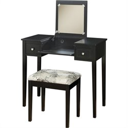 Pemberly Row Vanity Set Black with Butterfly Bench
