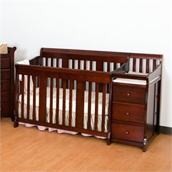 Pemberly Row 4-in1 Crib and Changer Combo in Cherry