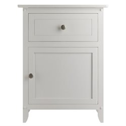Pemberly Row Nightstand Accent Table with Drawer in White