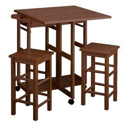 Pemberly Row Space Saver with 2 Square Stool in Teak