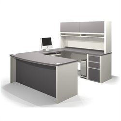 Pemberly Row U-Shaped Workstation with 1 Pedestal in Sandstone