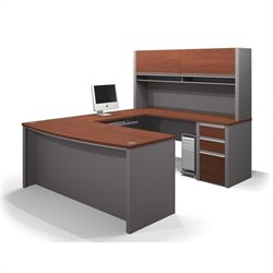 Pemberly Row U-Shaped Workstation with 1 Pedestal in Bordeaux