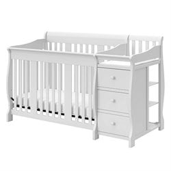 Pemberly Row 4-in1 Crib and Changer Combo in White