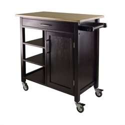 Pemberly Row Kitchen Cart in Beech Espresso Finish