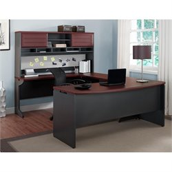 Pemberly Row U Shaped Office Set in Cherry and Gray
