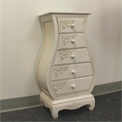 Pemberly Row Carved Wood Five Drawer Lingerie Chest in White