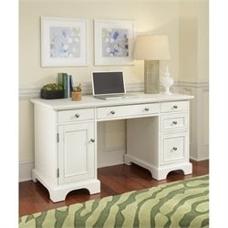 Pemberly Row Pedestal Desk White Finish