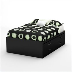 Pemberly Row Full Captains Bed in Pure Black
