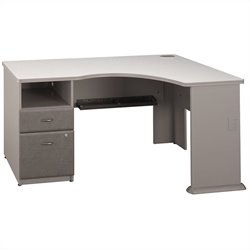 Pemberly Row 2Dwr Pedestal Corner Desk in Pewter
