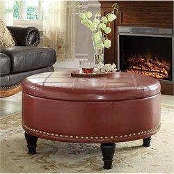 Pemberly Row Storage Leather Ottoman in Crimson Red
