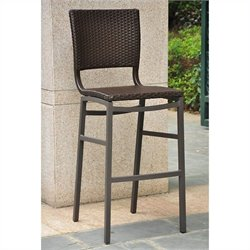 Pemberly Row Resin Wicker Aluminum Bar-height Patio Bar Stool (Set of 2)
