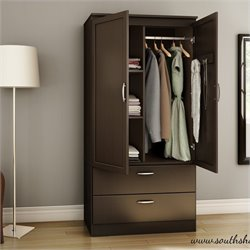 Pemberly Row Wardrobe Armoire in Chocolate