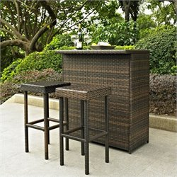 Pemberly Row 3 Piece Outdoor Wicker Bar Set