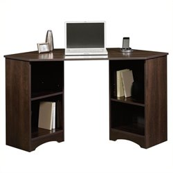 Pemberly Row Corner Desk in Cinnamon Cherry Finish