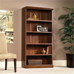 Pemberly Row Library 5 Shelf Bookcase in Planked Cherry