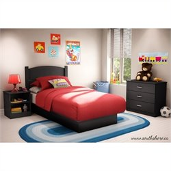 Pemberly Row Twin 3 Piece Bedroom in a Box in Pure Black