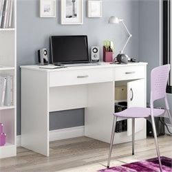 Pemberly Row Small Computer Desk in White