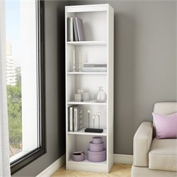 Pemberly Row 5-Shelf Narrow Bookcase in Pure White