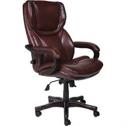 Pemberly Row Executive Office Chair in Brown Bonded Leather