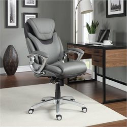 Pemberly Row Executive Office Chair Grey Bonded Leather
