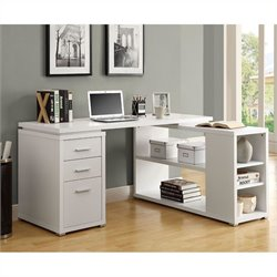 Pemberly Row L Shaped Computer Desk in White