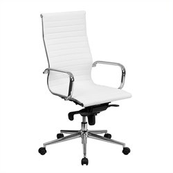 Pemberly Row High Back Ribbed Leather Office Chair in White