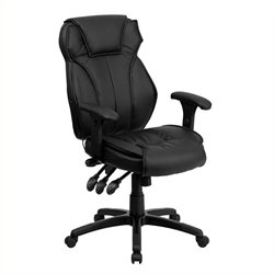 Pemberly Row High Back Leather Executive Office Chair in Black