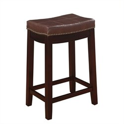 MER-991 Pemberly Row Faux Leather Bar Stool in Dark Brown