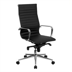 Pemberly Row High Back Ribbed Leather Office Chair in Black