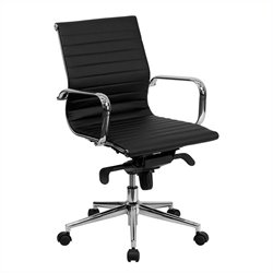 Pemberly Row Mid-Back Ribbed Leather Conference Office Chair in Black