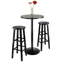 Pemberly Row 3 Piece Pub Table with 29 inch Stools in Black