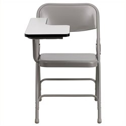 Pemberly Row Premium Steel Folding Chair with Right Hand Tablet Arm