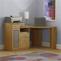 Pemberly Row Corner Computer Desk in Light Dragonwood