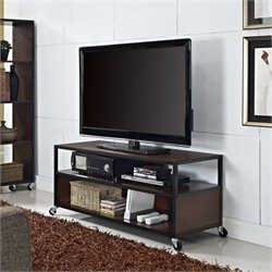 Pemberly Row Ridge Mobile TV Stand in Cherry Finish