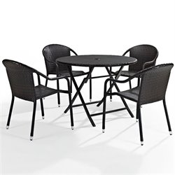 Pemberly Row 5 Piece Wicker Patio Dining Set