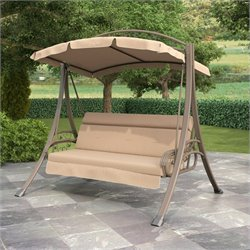 Pemberly Row Patio Swing with Arched Canopy in Beige