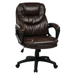 Pemberly Row Faux Leather Managers Office Chair in Chocolate